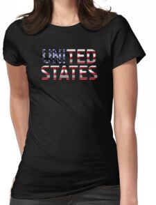United States - American Flag - Metallic Text Womens Fitted T-Shirt