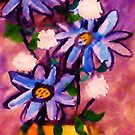 Vase of Blue flowers, watercolor by Anna  Lewis