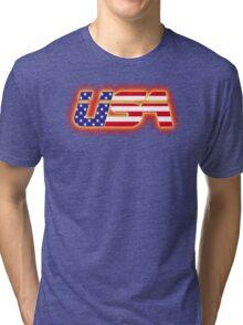 USA - Flag Logo - Glowing Tri-blend T-Shirt