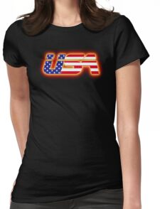 USA - Flag Logo - Glowing Womens Fitted T-Shirt