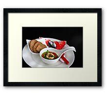 Leek-Pepper-Soup and Goat Cheese Au Gratin Framed Print
