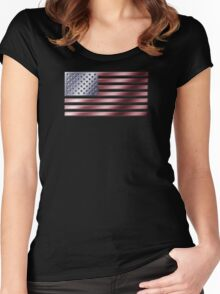 American Flag - USA - Metallic Women's Fitted Scoop T-Shirt