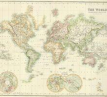 Vintage Map of The World (1872) by BravuraMedia