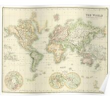 Vintage Map of The World (1872) Poster
