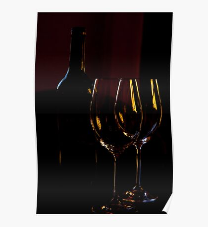 Red wine & glasses Poster