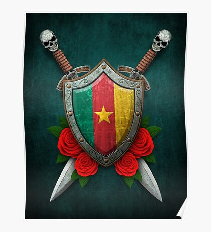 Cameroon Flag on a Worn Shield and Crossed Swords Poster