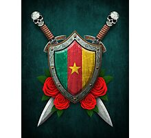 Cameroon Flag on a Worn Shield and Crossed Swords Photographic Print