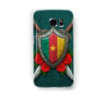 Cameroon Flag on a Worn Shield and Crossed Swords Samsung Galaxy Case/Skin