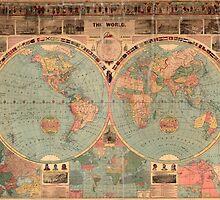 Vintage Map of The World (1883) by BravuraMedia