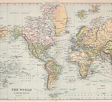 Vintage Map of The World (1892) by BravuraMedia