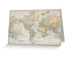 Vintage Map of The World (1892) Greeting Card