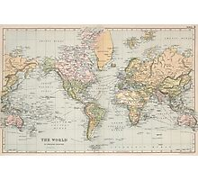 Vintage Map of The World (1892) Photographic Print