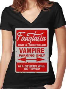 True Blood - Fangtasia - Vampire Parking Only Women's Fitted V-Neck T-Shirt