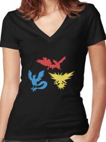 Pokemon Legendary Birds Tee Women's Fitted V-Neck T-Shirt