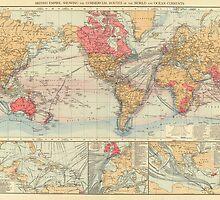 Vintage Map of The World (1895) 2 by BravuraMedia
