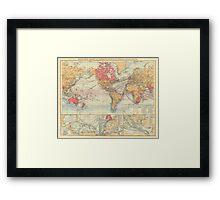 Vintage Map of The World (1895) 2 Framed Print