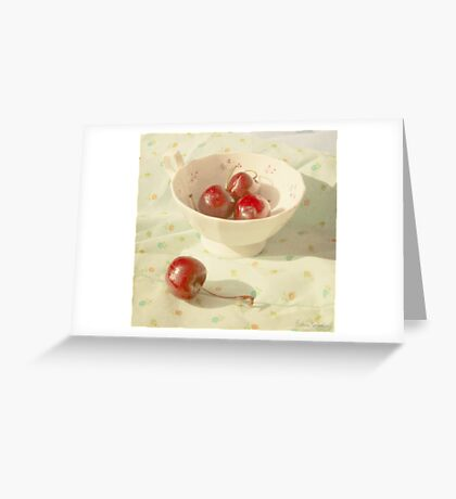 Cherries in a cup still life photography Greeting Card