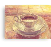 Coffee cup still life oil painting Canvas Print