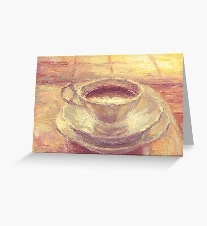 Coffee cup still life oil painting Greeting Card