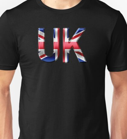 UK - British Flag - Metallic Text Unisex T-Shirt
