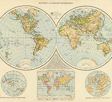 Vintage Map of The World (1895) by BravuraMedia