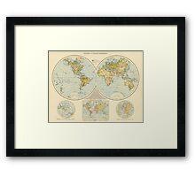 Vintage Map of The World (1895) Framed Print