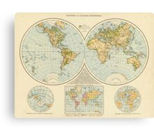 Vintage Map of The World (1895) Canvas Print
