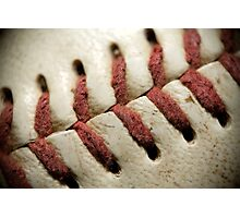 Baseball Stitch Macro  Photographic Print
