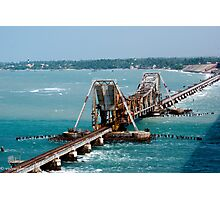 the railway bridge which opens up to allow ships to pass through Photographic Print