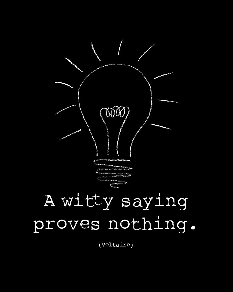 """Voltaire Quote Poster - """"A witty saying proves nothing"""" by SquidPhotos"""