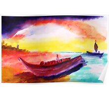 Lower tide than usual, watercolor Poster