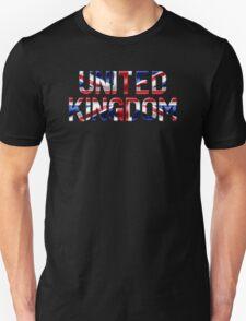United Kingdom - British Flag - Metallic Text T-Shirt