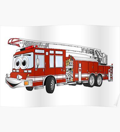 Hook and Ladder Cartoon Fire Truck Poster