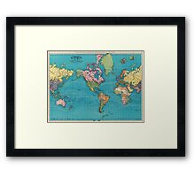 Vintage Map of The World (1897) Framed Print