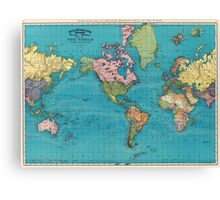 Vintage Map of The World (1897) Canvas Print