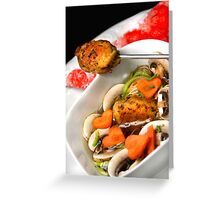 Small Mushroom-Dumpling With Vegetable Soup Greeting Card