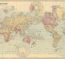Vintage Map of The World (1901) by BravuraMedia