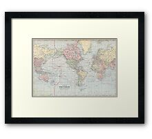 Vintage World Map (1901) Framed Print