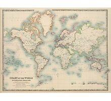 Vintage Map of The World (1911) Photographic Print