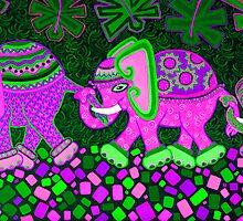 'Elephant Conga Line' - Digitally Altered Colour Scheme by Lisafrancesjudd