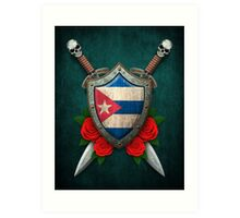 Cuban Flag on a Worn Shield and Crossed Swords Art Print