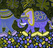 'Elephant Conga Line' - Digitally Altered Colour Scheme by Lisa Frances Judd ~ QuirkyHappyArt