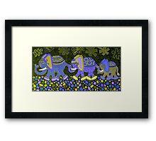'Elephant Conga Line' - Digitally Altered Colour Scheme Framed Print