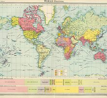 Vintage Political Map of The World (1922) by BravuraMedia