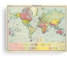 Vintage Political Map of The World (1922) Canvas Print