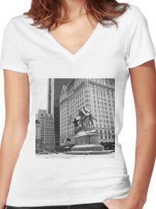 59th Street Penn Plaza Women's Fitted V-Neck T-Shirt