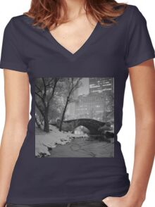 Cracked Lake Under Gapstow Bridge Women's Fitted V-Neck T-Shirt