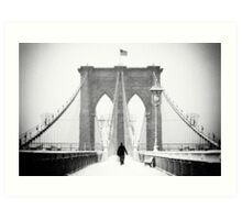 Man on Brooklyn Bridge Art Print