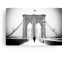 Man on Brooklyn Bridge Canvas Print