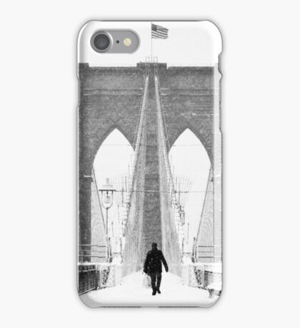 Man on Brooklyn Bridge iPhone Case/Skin